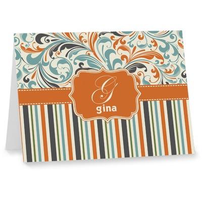 Orange Blue Swirls & Stripes Note cards (Personalized)