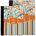 Orange Blue Swirls & Stripes Notebook Padfolio w/ Name and Initial