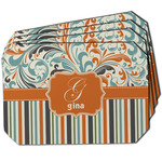 Orange Blue Swirls & Stripes Dining Table Mat - Octagon w/ Name and Initial