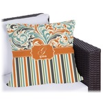 Orange Blue Swirls & Stripes Outdoor Pillow (Personalized)