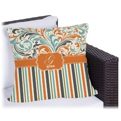 Orange Blue Swirls & Stripes Outdoor Pillow (Personalized)