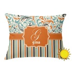 Orange Blue Swirls & Stripes Outdoor Throw Pillow (Rectangular) (Personalized)
