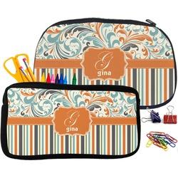Orange Blue Swirls & Stripes Pencil / School Supplies Bag (Personalized)