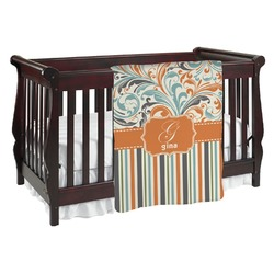 Orange Blue Swirls & Stripes Baby Blanket (Personalized)