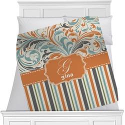 Orange Blue Swirls & Stripes Blanket (Personalized)