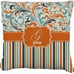Orange Blue Swirls & Stripes Faux-Linen Throw Pillow (Personalized)