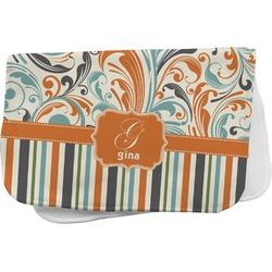 Orange Blue Swirls & Stripes Burp Cloth (Personalized)