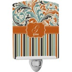 Orange Blue Swirls & Stripes Ceramic Night Light (Personalized)