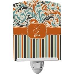Orange Blue Swirls & Stripes Ceramic Night Light (Personalized)