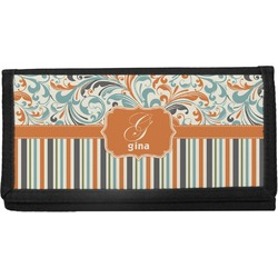 Orange Blue Swirls & Stripes Canvas Checkbook Cover (Personalized)