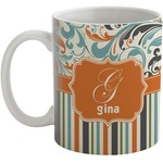 Orange Blue Swirls & Stripes Coffee Mug (Personalized)