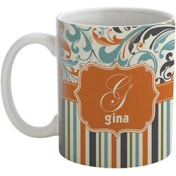 Orange Blue Swirls & Stripes Coffee Mug (Personalized)