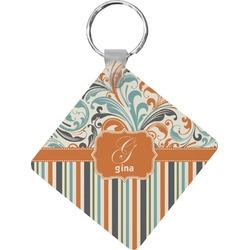 Orange Blue Swirls & Stripes Diamond Key Chain (Personalized)