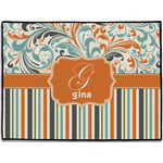 Orange Blue Swirls & Stripes Door Mat (Personalized)