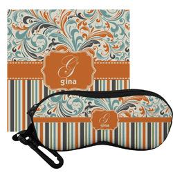 Orange Blue Swirls & Stripes Eyeglass Case & Cloth (Personalized)