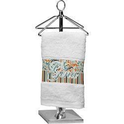 Orange Blue Swirls & Stripes Finger Tip Towel (Personalized)