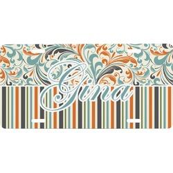 Orange Blue Swirls & Stripes Front License Plate (Personalized)