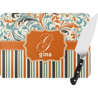 Orange Blue Swirls & Stripes Rectangular Glass Cutting Board (Personalized)