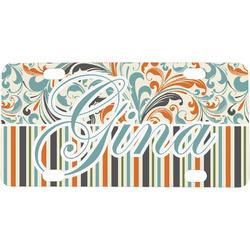 Orange Blue Swirls & Stripes Mini / Bicycle License Plate (Personalized)