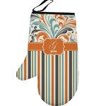 Orange Blue Swirls & Stripes Left Oven Mitt (Personalized)