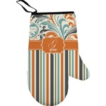 Orange Blue Swirls & Stripes Right Oven Mitt (Personalized)
