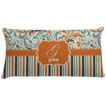 Orange Blue Swirls & Stripes Pillow Case (Personalized)