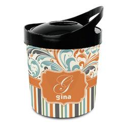 Orange Blue Swirls & Stripes Plastic Ice Bucket (Personalized)