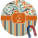 Orange Blue Swirls & Stripes Round Magnet (Personalized)