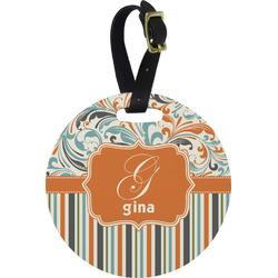 Orange Blue Swirls & Stripes Round Luggage Tag (Personalized)