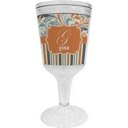 Orange Blue Swirls & Stripes Wine Tumbler - 11 oz Plastic (Personalized)