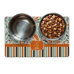 Orange Blue Swirls & Stripes Pet Bowl Mat (Personalized)