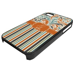Orange Blue Swirls & Stripes Plastic 4/4S iPhone Case (Personalized)