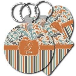 Orange Blue Swirls & Stripes Plastic Keychains (Personalized)