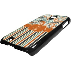 Orange Blue Swirls & Stripes Plastic Samsung Galaxy 4 Phone Case (Personalized)