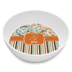 Orange Blue Swirls & Stripes Melamine Bowl 8oz (Personalized)