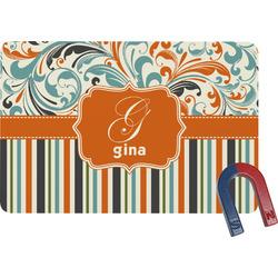Orange Blue Swirls & Stripes Rectangular Fridge Magnet (Personalized)