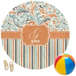 Orange Blue Swirls & Stripes Round Beach Towel (Personalized)