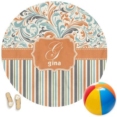 Orange Blue Swirls & Stripes Round Beach Towel (Personalized)