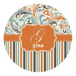 Orange Blue Swirls & Stripes Round Decal - Custom Size (Personalized)