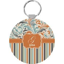 Orange Blue Swirls & Stripes Keychains - FRP (Personalized)