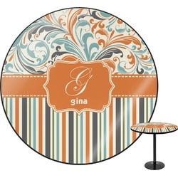 Orange Blue Swirls & Stripes Round Table (Personalized)