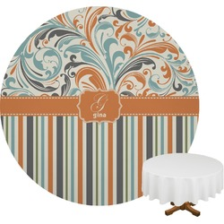 Orange Blue Swirls & Stripes Round Tablecloth (Personalized)