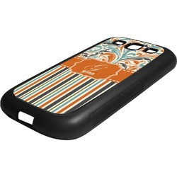 Orange Blue Swirls & Stripes Rubber Samsung Galaxy 3 Phone Case (Personalized)