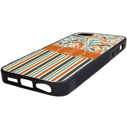 Orange Blue Swirls & Stripes Rubber iPhone 5/5S Phone Case (Personalized)
