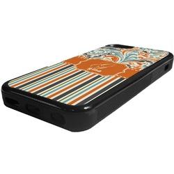Orange Blue Swirls & Stripes Rubber iPhone 5C Phone Case (Personalized)