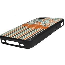 Orange Blue Swirls & Stripes Rubber iPhone Case 4/4S (Personalized)