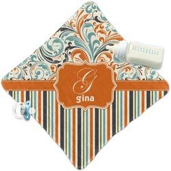Orange Blue Swirls & Stripes Security Blanket (Personalized)