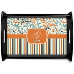 Orange Blue Swirls & Stripes Black Wooden Tray - Small (Personalized)