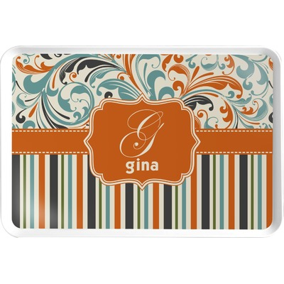 Orange Blue Swirls & Stripes Serving Tray (Personalized)