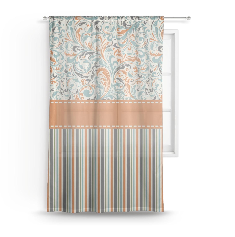 Orange Blue Swirls Amp Stripes Sheer Curtain 50 Quot X84